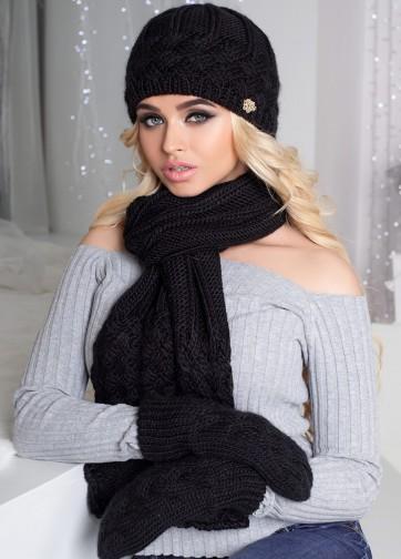 Зимний вязаный комплект из шапки, шарфа и варежек