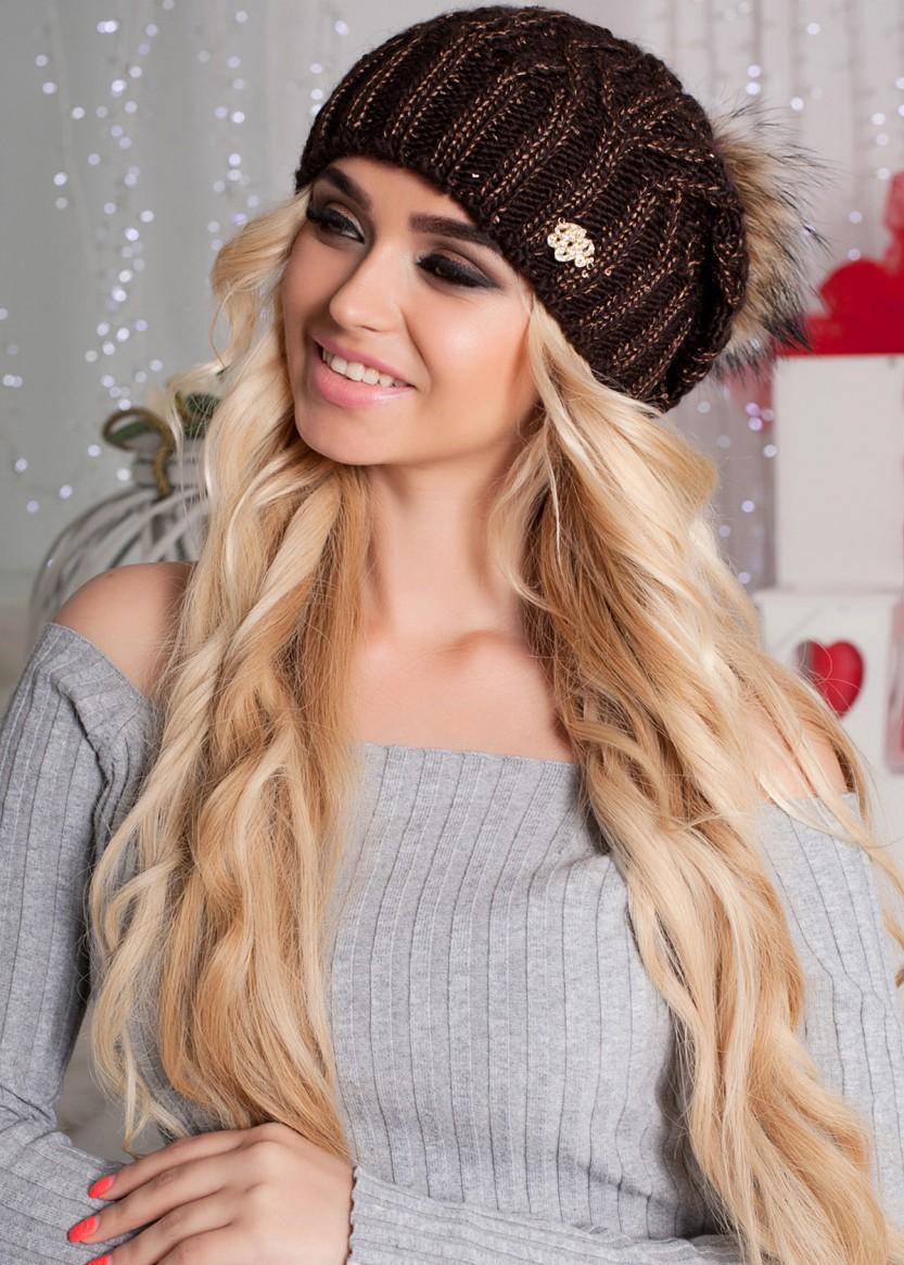 купить женская вязаная шапка с меховым помпоном недорого Butiqcomua