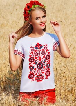 Блузка свободного кроя с коротким рукавом и цветочным украинским принтом