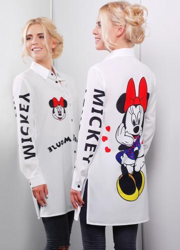 """Белая удлиненная рубашка свободного кроя с принтом """"Minnie Mouse"""""""