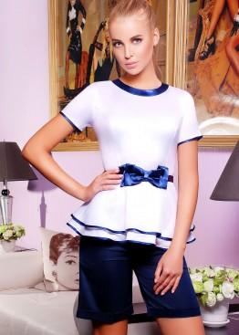 Белая блузка с двойной баской и коротким рукавом