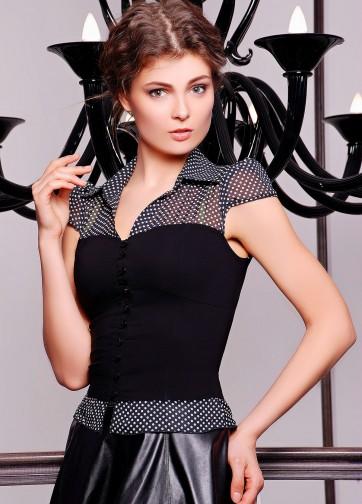 Блузка с имитацией корсета с коротким рукавом