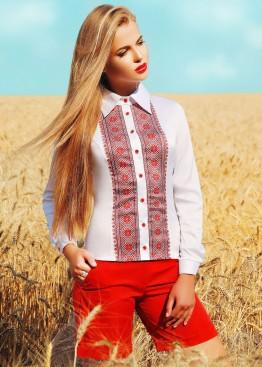 Облегающая блузка в украинском стиле с воротником и длинным рукавом