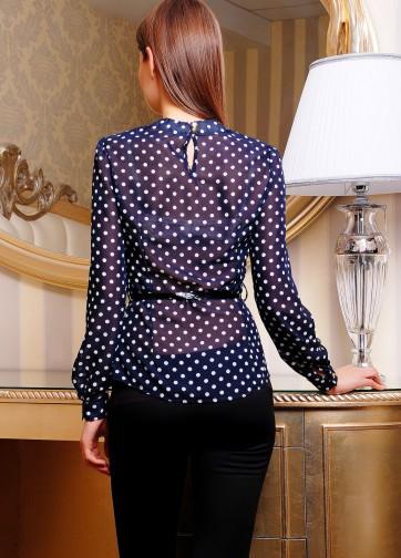 Шифоновая блузка с присобранным воротником и длинным рукавом