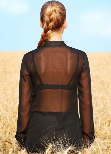 """Удлиненная блузка с воротником-стойкой и принтом """"Маки"""" из полупрозрачного шифона"""