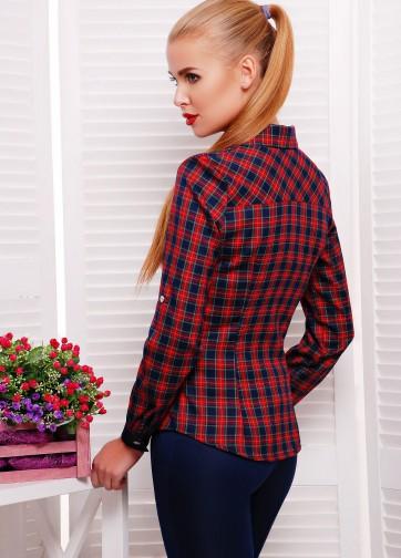 Женская клетчатая рубашка с воротником и длинным рукавом
