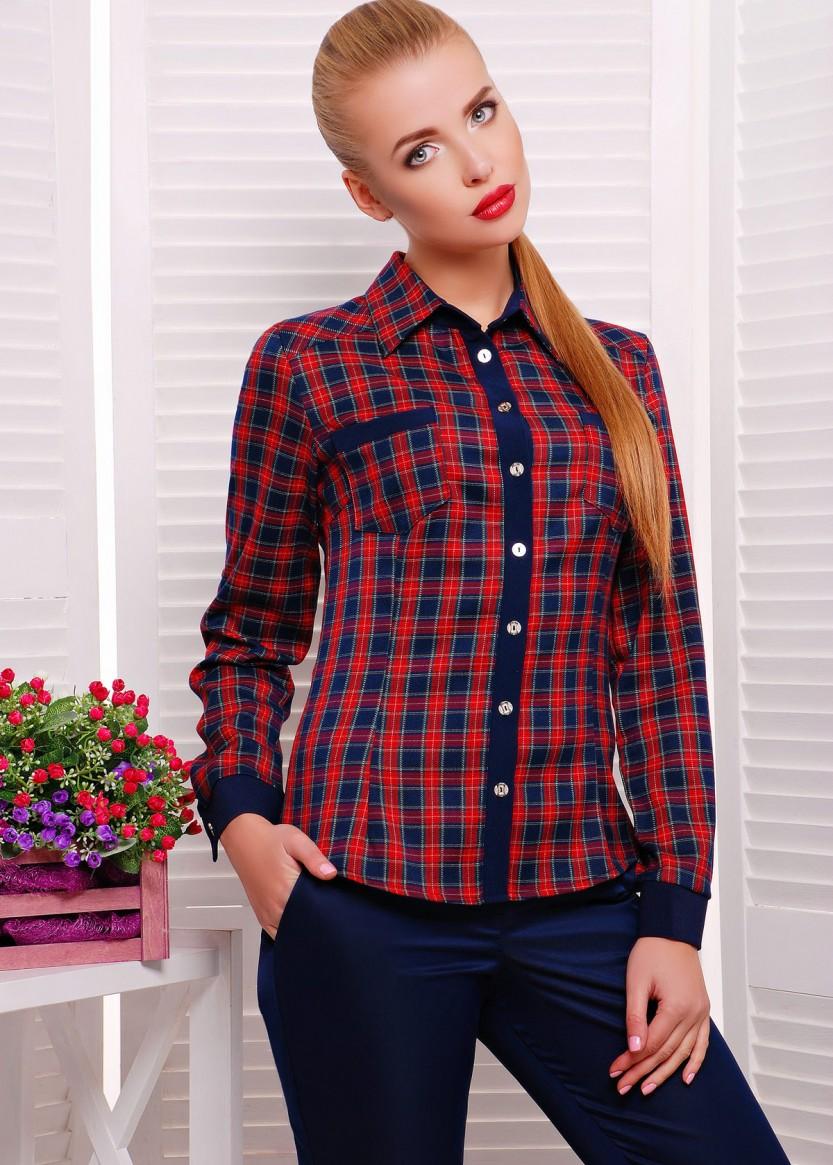 856c845d263 Купить Женская клетчатая рубашка с воротником и длинным рукавом ...