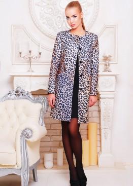 Пальто без воротника с леопардовым принтом