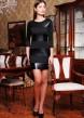 Черное облегающее платье с рукавом три четверти и горизонтальными полосками из кожи