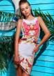 """Белое короткое платье-сарафан с цветочным принтом """"Лилии"""""""