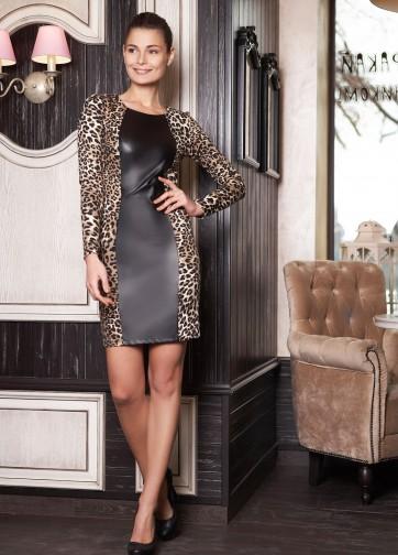 Облегающее платье с вертикальной кожаной вставкой спереди