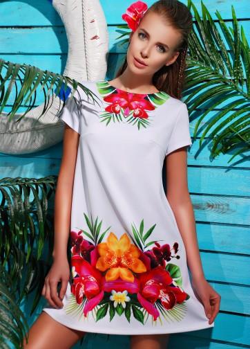 """Платье-трапеция с коротким рукавом и принтом """"Орхидея"""""""