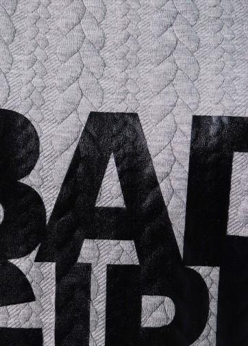"""Платье прямого кроя с ассиметричным удлиненным низом и надписью """"BAD GIRL"""""""