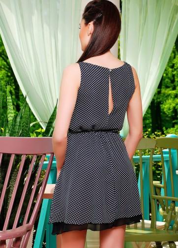 Шифоновое платье без рукава с двойной юбкой и тонким ремешком