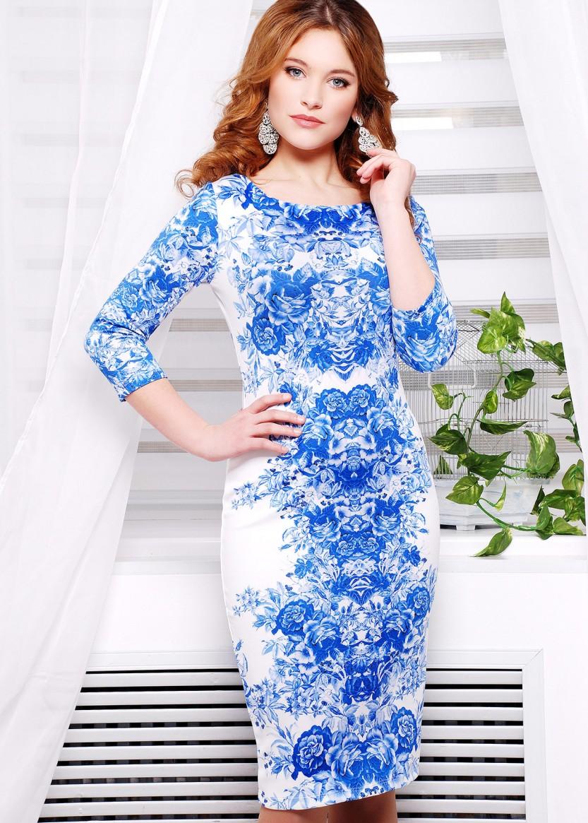 b89ad281eb0 Белое облегающее платье с рукавом три четверти и принтом