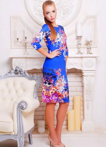"""Облегающее платье с рукавом три четверти и принтом """"Осенний букет"""""""