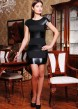Черное облегающее платье с коротким рукавом и горизонтальными полосками из кожи