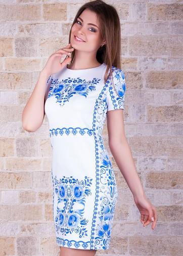 """Полуприлегающее платье с коротким рукавом и принтом """"Гжель"""""""