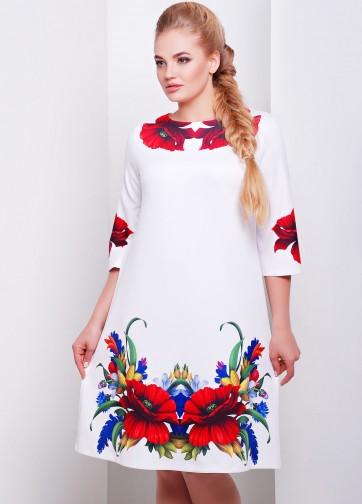 """Платье-трапеция с рукавом три четверти и принтом """"Маки"""""""
