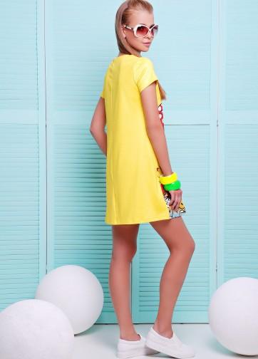 """Желтое платье-трапеция с коротким рукавом и принтом """"Summer time"""""""