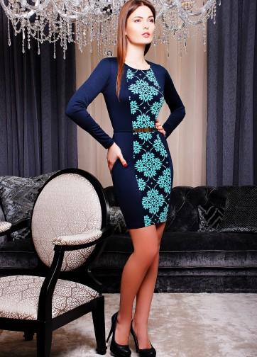 Облегающее платье-футляр с длинным рукавом и узорной вертикальной вставкой спереди