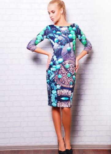 """Трикотажное облегающее платье с рукавом три четверти и принтом """"Инди"""""""