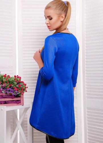 Платье-туника с карманами и узкой кожаной отделкой