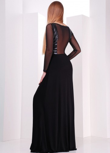 Вечернее платье в пол с кожаным верхом и прозрачной спинкой