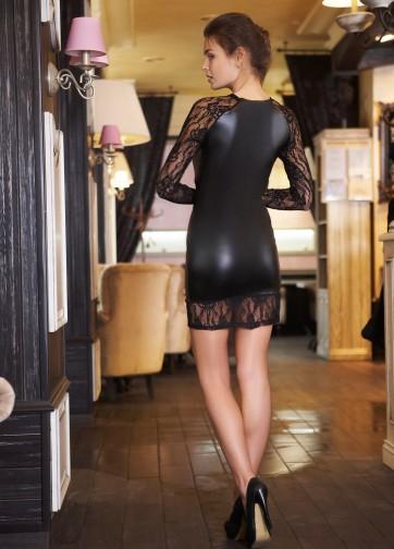 Черное мини-платье из искусственной кожи с ажурными вставками