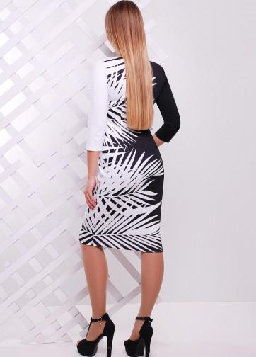 """Облегающее черно-белое платье-миди с принтом """"Белые листья"""""""