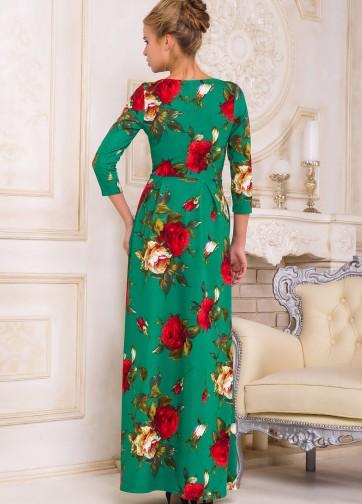 Цветочное платье-макси с юбкой в складку и прорезными карманами