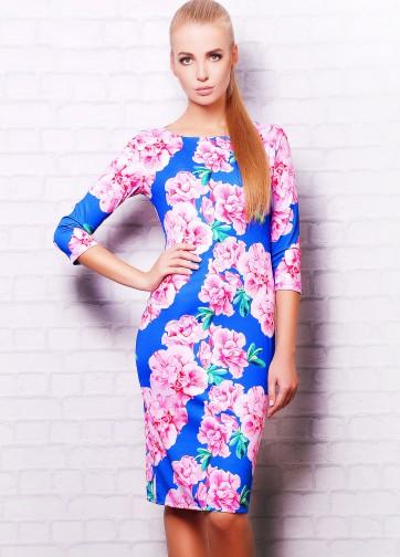 """Синее облегающее платье с рукавом три четверти и принтом """"Розовые цветы"""""""