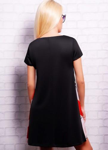 """Черно-красное платье-трапеция с принтом """"No Smoking"""""""
