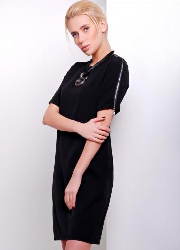 Прямое платье с коротким рукавом и декоративной молнией на плечах