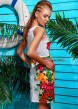 """Летний сарафан полуприлегающего силуэта на широких бретелях с принтом """"Тропики"""""""
