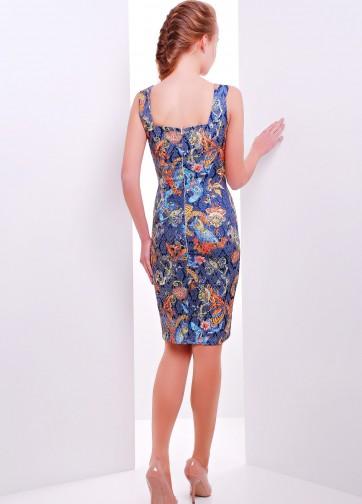 Платье-футляр-миди без рукава из жаккарда с прямоугольным вырезом