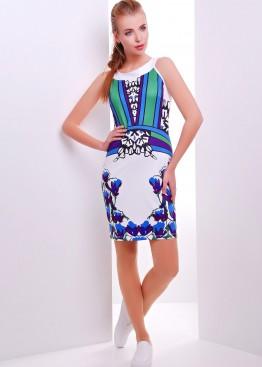 """Белое короткое платье-сарафан с цветочным принтом """"Колокольчики"""""""