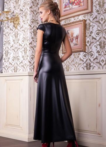 Кожаное длинное платье с коротким рукавом и молнией спереди