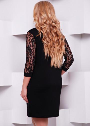 """Нарядное черное платье с гипюровым рукавом и принтом """"Алые розы"""""""