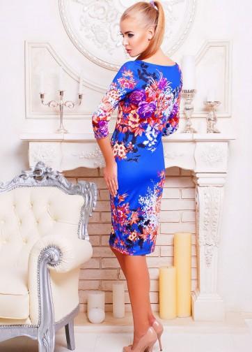"""Трикотажное облегающее платье с рукавом три четверти и принтом """"Осенний букет"""""""