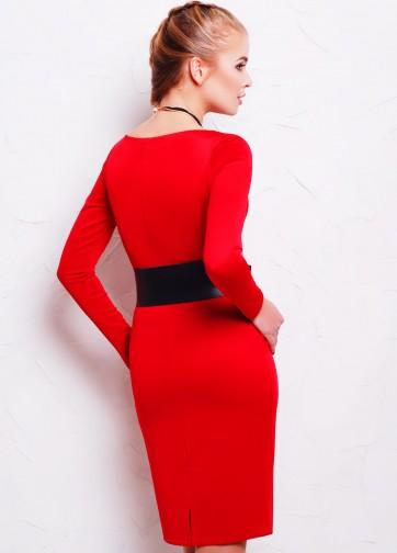 Женское обтягивающее платье-миди с длинным рукавом и сердцевидным вырезом