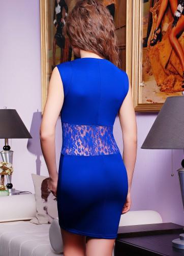 Обтягивающее мини-платье с кружевной сеткой на талии