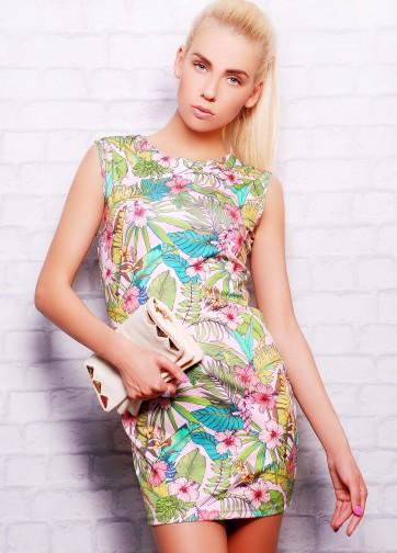 Короткое платье-футляр без рукава с цветочным принтом