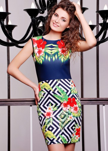 """Облегающее платье с принтом """"Тропические цветы"""""""