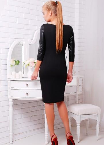 """Черное облегающее платье-миди с кожаным рукавом и принтом """"Брюнетка"""""""