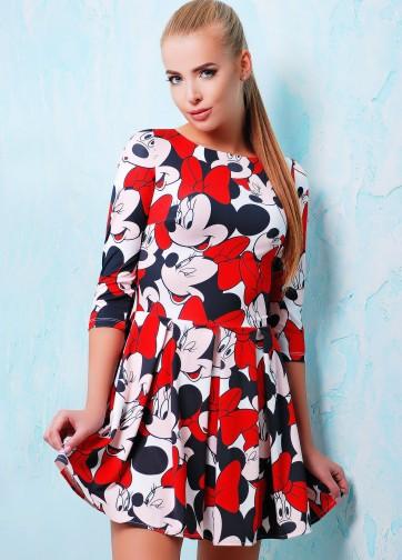 """Приталенное платье со складками и принтом """"Mickey Mouse"""""""