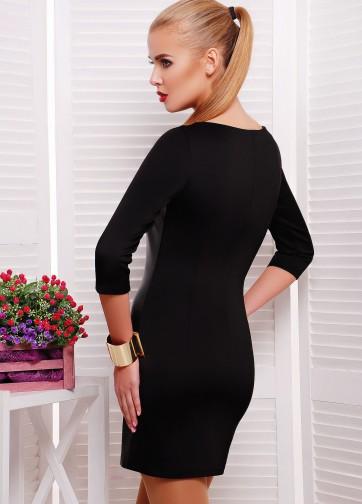 Облегающее платье с рукавом три четверти и кожаной передней вставкой