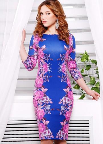 """Синее облегающее платье с рукавом три четверти и принтом """"Фиолетовые розы"""""""