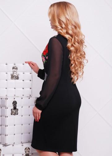 """Приталенное платье-миди с шифоновым рукавом и принтом """"Маки"""""""