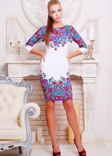 """Цветочное облегающее платье с рукавом """"летучая мышь"""" и карманами"""